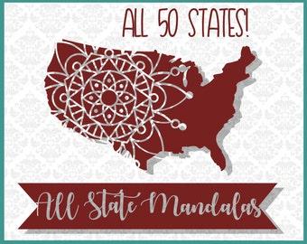 Mandala SVG, Texas Mandala SVG, State Svg, State Mandala Svg, Svg Mandala, Alabama SVG, United States svg, mandala state set, Svg Mandala