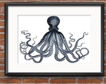 Octopus Poster, Octopus Art Print, Kraken Print, Nautical Art, Retro Octopus Print, Beach Home Decor, Man Cave Art, Gift for Him - 0389