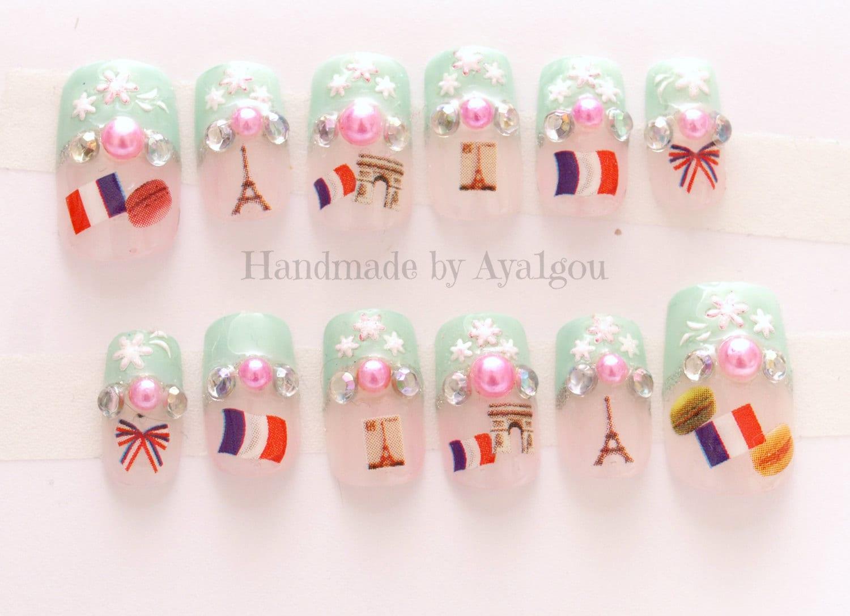 Nails Paris French nail pastel macaron kawaii nail 3D