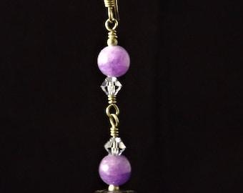 Boucles d'oreilles violet et argent sterling
