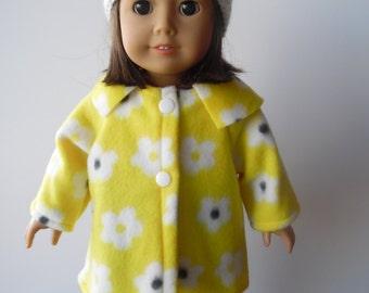 American Girl Yellow Fleece Coat and Hat