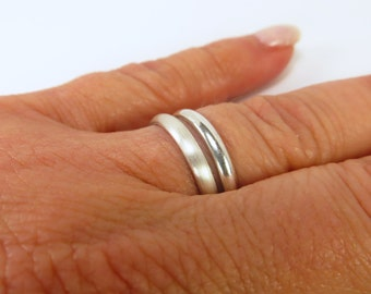 Simple Band Ring Sterling Silver Finish Shine and Brushed Silver Finishes Midi Ring Thumb Ring