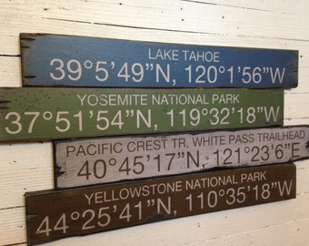 Custom Coordinates - Mountain Theme, Handcrafted Rustic Wood Sign, Destination Signs, Mountain Decor for Home and Cabin, 4018
