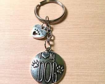 I Love My Dog key ring - dog lovers gift - gift for her - gift for him - Year of the Dog gift