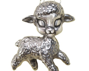 Lamb Necklace sheep pendant charm silver gold