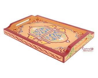 Moroccan Serving Tray Wood Handmade Hand painted Light Coral Limited Edition (Ref. SWT6)