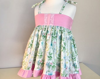 Summer dress garden floral and pink polka dot