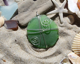 AUTHENTIC Outer Banks Sea Glass, OBX Beaches, Bottle Bottom Wrapped in STERLING Pendant Free Shipping