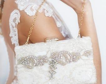 Bridal clutch, wedding clutch, ivory bridal clutch, lace pearl bridal clutch, beaded bridal clutch, wedding purse, rhinestone clutch