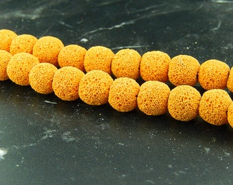 Ochre yellow lava 12mm 10 beads