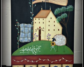 Primitive Saltbox House Flag Sheep Penny Rug 11 x 14 Canvas Panel Hand Painted Home Decor