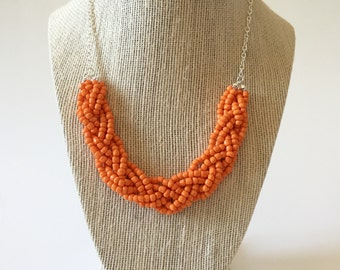 Orange Beaded Braid Necklace