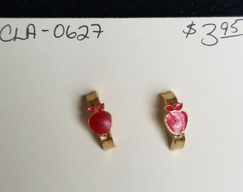 Earrings- red apple halp circle post studs