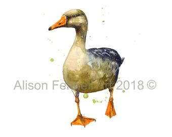 WATERCOLOR GOOSE Print, 8x10 print,country kitchen