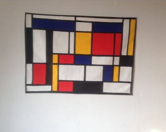 Composition style Piet Mondrian fully lined
