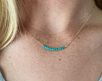 Simple Layering Necklace with Turquoise Stone Beads