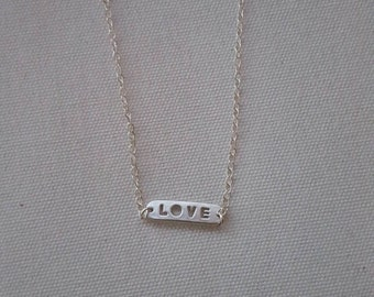 Gold or Silver love necklace; simple love necklace; name plate love necklace; name tag necklace; simple love necklace 14k gold filled chain