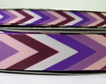 "2 Yards or More 3/8"" or 1"" Shades of Purples Chevron Zig Zag Bohemian Print Grosgrain Ribbon"