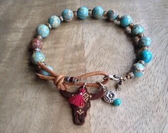 17 cm wrist, Imperial jasper bohemian bracelet boho chic bracelet gypsy womens jewelry gift for her boho bracelet gemstone bracelet