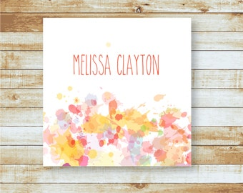 Personalized Calling Cards / Gift Tags / Citrus Watercolor Splatter