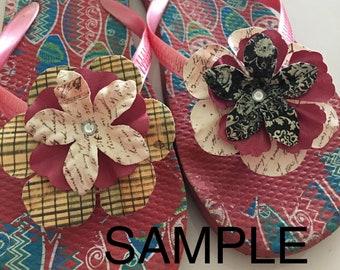 Ladies Custom Decorated Embellished Flip Flops Flower Design Sample
