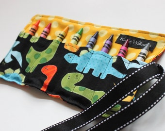 Crayon Roll-Dinosaurs-Crayon Holder-Valentines Day Boy Gift-Easter Basket Kid Gift-Boy Birthday Gift-Kids Craft-Crayons-Holiday Kids