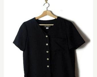 ON SALE Vintage Oversized Black Short sleeve Blouse/Cardigan from 80's/Minimal