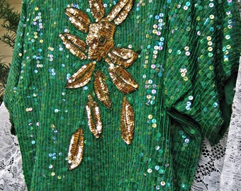 PLUS SIZE Dress Set, Clover Green and Gold cocktail party formal Sequined Dress set Silk beaded dress, silk blouse silk skirt, sequin top