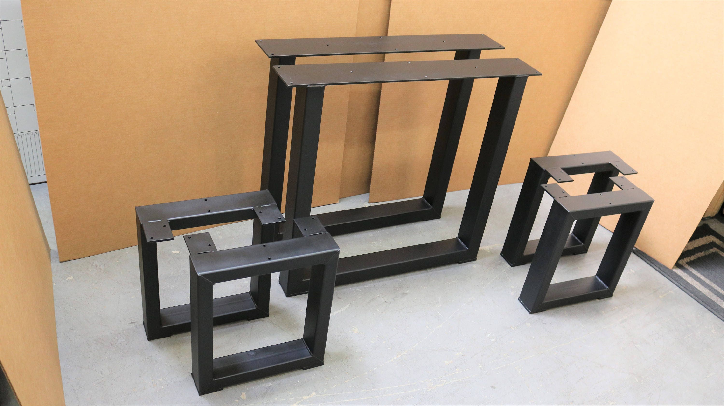 set of 2 square table legs and 4 square bench legs model tbtsq13 industrial metal tubing legs. Black Bedroom Furniture Sets. Home Design Ideas