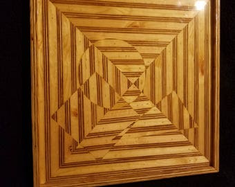 Handmade one of a kind optical illusion art made from plywood