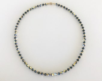 KAKOI LUXE Swarovski Crystal Collection, shiny black choker necklace, black crystals, dark jewelry, black and gold, magnetic, flashy