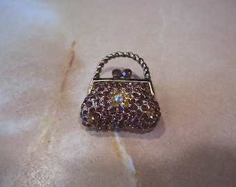 Small Rust Color Rhinestone Purse Brooch
