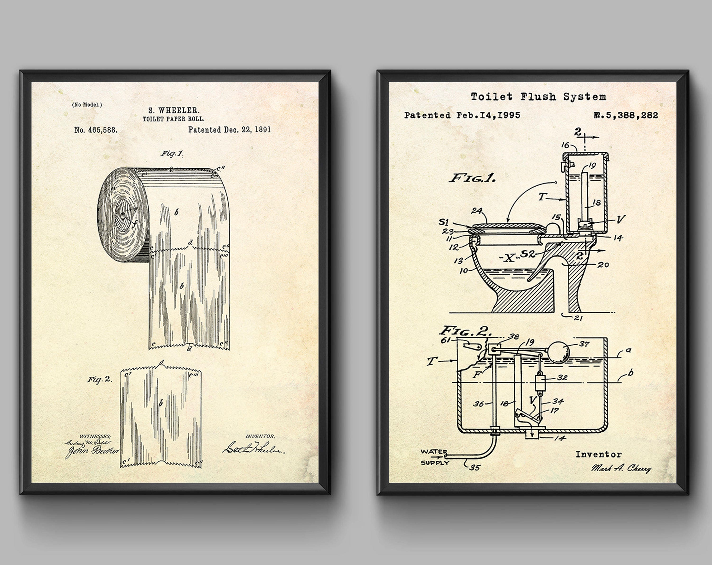 Toilet paper poster toilet patent print toilet wall art request a custom order and have something made just for you malvernweather Choice Image