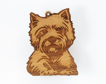 "West Highland Terrier / Westie Ornament from Timber Green Woods. Personalize it! Made in the U.S.A! - Cherry Wood (ornament ""Westie 'B'"")"