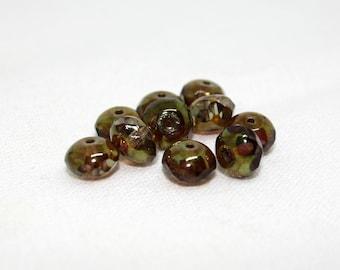 10 Amber/Bronze 6mmx8mm Czech Glass Rondelles