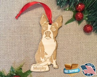 Boston Terrier Christmas Ornament *** Personalized Dog Ornament  ***Dog Lover Gift *** Christmas Holiday Ornament ***