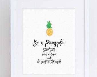 Pineapple Print, Pineapple Poster, Pineapple Wall Art, Modern Art, Wall Art Print, Digital Download, Digital Art, Art Printables