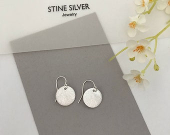 Simple dangle earrings, round brushed sterling silver,