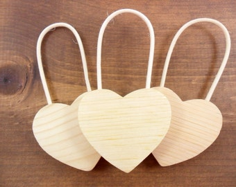 """Wood Hearts 5"""" H w/Handle x 2 5/8"""" W x 1/2"""" Thick - 3 Pieces"""