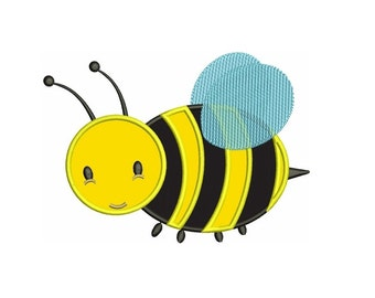 Cute Bumble Bee Applique Machine Embroidery Design Pattern - Instant Download - comes in three sizes to fit 4x4 , 5x7, and 6x10 hoops