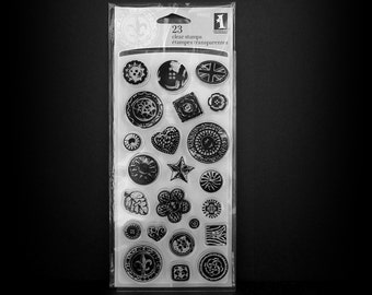 Rubber Stamps, Cling Stamps, Clear Stamps, Button Cling Stamps, 23 Cling Stamps, Buttons, Inkadinkado Stamps, Scrapbook Stamps, Scrapbooking