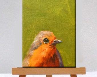 Robin, Wild Bird, Oil Painting, Original, 4x6 Canvas, Tiny, Little, Wall Art, Decor, Small, Green, Red, Orange, Red Breast, Bird, Portrait
