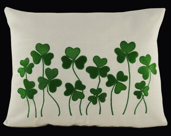 "Embroidered Pillow Cover - Shamrock - St Patrick's Day - Fits 12""x16"" Insert - Natural Color Pillow with Green Embroidery (READY TO SHIP)"
