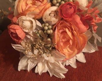 Orange wedding bouquet rustic bride/bridesmaid wedding bouquet
