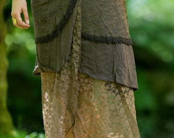 Pocahontas Skirt (Brown) - Festival Clothing Long Layered Crochet and Lace Gypsy Boho Tribal Indie Bohemian Rave Crochet Pocket Lace