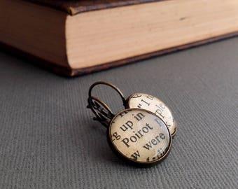 Agatha Christie Fan Earrings, Book Jewellery, Detective Novels, Hercule Poirot and Miss Marple Gift, Bronze, Book Jewelry
