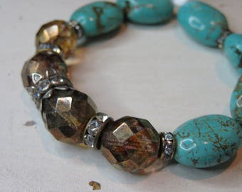 Boho style layering .  turquoise and  vintage Swarovski crystal , Czech glass stretch bracelet