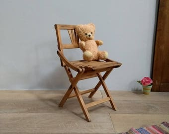 Wooden folding chair child 40s vintage 40s wood crib folding chair