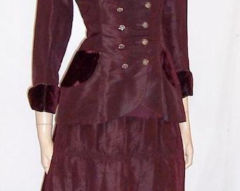 Unusual Victorian (1837-1901) Aubergine Silk and Velvet Two-Piece Ensemble