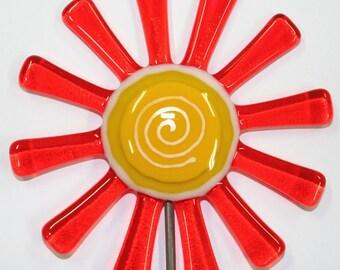 Glassworks Northwest - Brilliant Orange Daisy Flower Stake - Fused Glass Garden Art